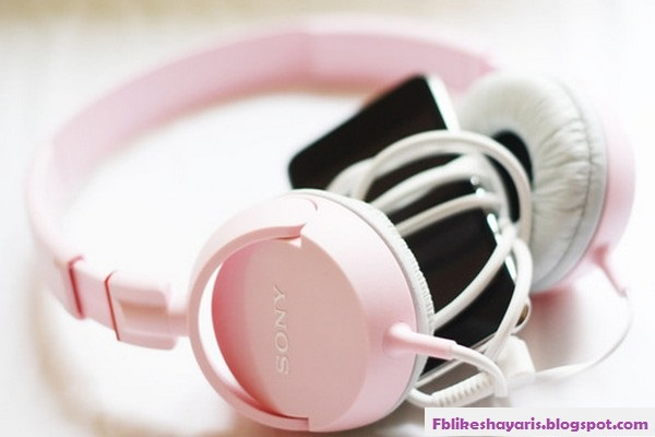 Pink headphone sony with cell phone